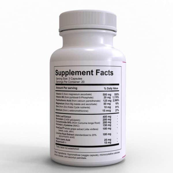MDPA Allergy Support with Vitamin C, Leaf Extract, Bromelain and Turmeric